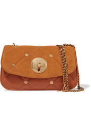 Lois quilted suede and leather shoulder bag