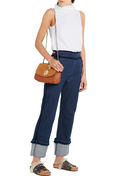 See By Chloé. Lois quilted suede and leather shoulder bag 930ae5ace0ed3