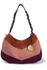 Madie large suede and leather shoulder bag