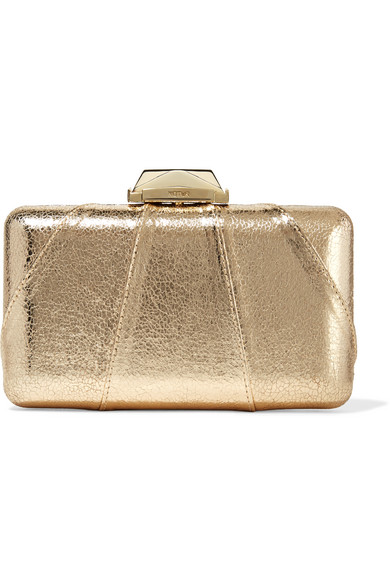 Kotur - Espey Metallic Faux Textured-leather Clutch - Gold