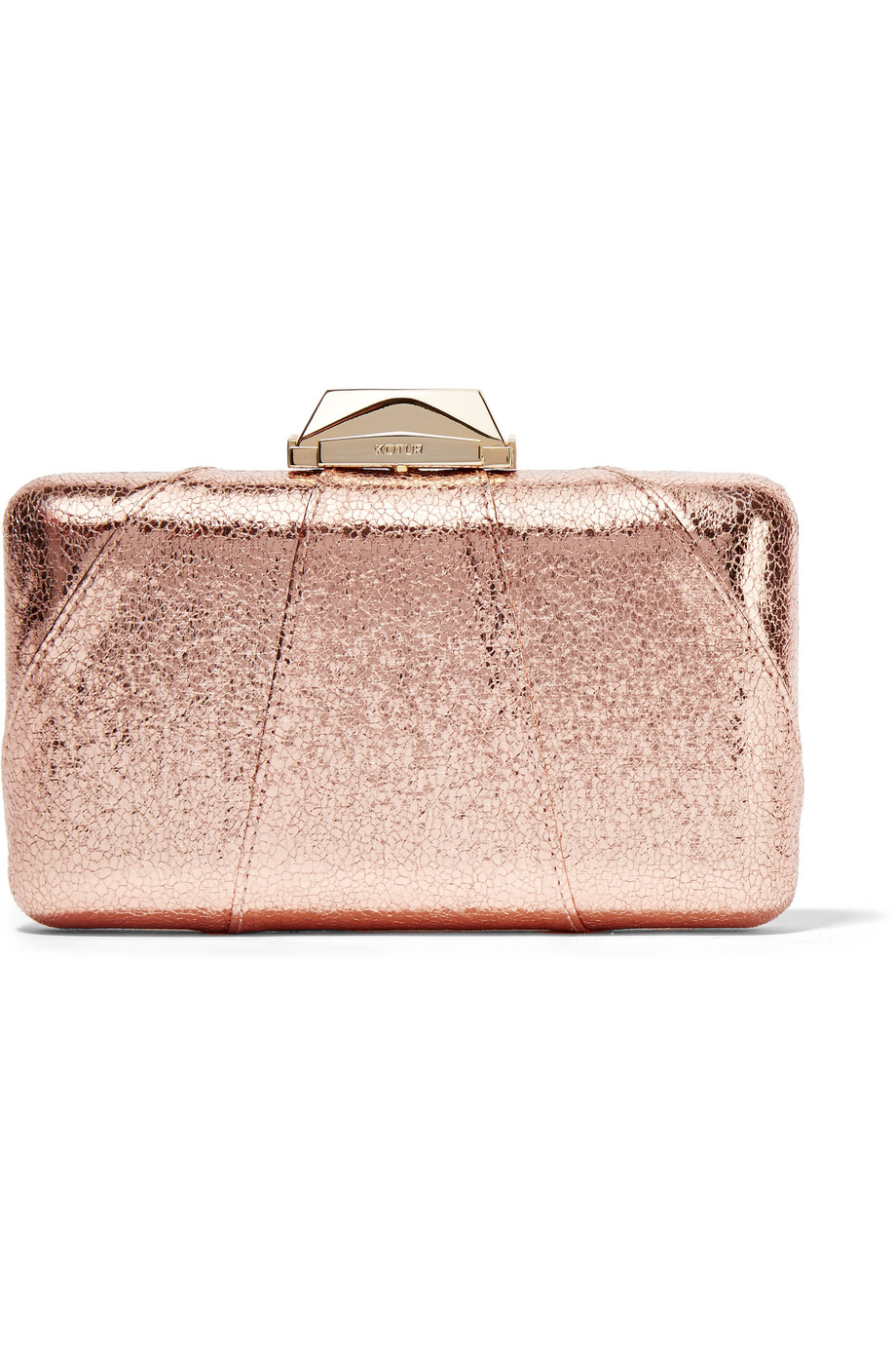 Kotur Espey Metallic Faux Textured-Leather Clutch, Pink/Metallic, Women's