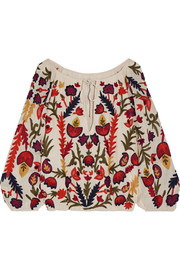 Alice + Olivia Naya off-the-shoulder embroidered crinkled-gauze top
