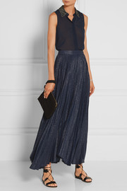 Katz pleated metallic silk-blend jacquard maxi skirt