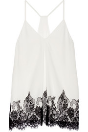 Alice + Olivia Rowena lace-trimmed silk-georgette top