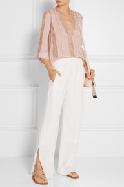 Alice + Olivia Robbie lace and crinkled-chiffon blouse