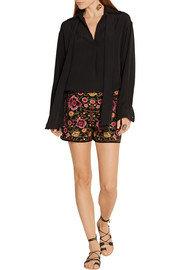 Marisa embroidered stretch-cotton shorts