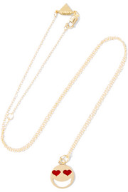 Lovestruck 14-karat gold enamel necklace