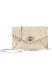 440 Gallery Bitsy metallic lizard-effect leather shoulder bag