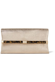 Diane von Furstenberg 440 Envelope metallic lizard-effect leather clutch