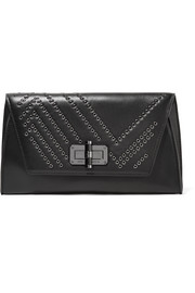Gallery Uptown eyelet-embellished leather clutch