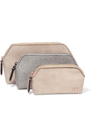 Voyage set of three metallic lizard-effect nubuck pouches