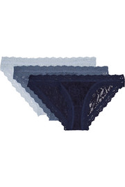 Signature set of three stretch-lace Brazilian briefs