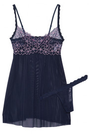Dahlia embroidered lace-trimmed mesh chemise and thong set