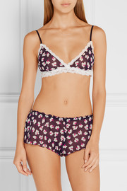 Hanky Panky Night Lily lace-trimmed floral-print chiffon soft-cup bra