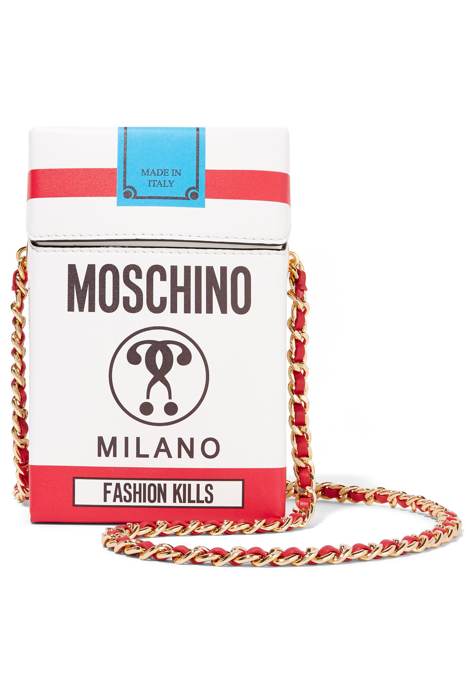 Moschino Printed Leather Shoulder Bag, White, Women's
