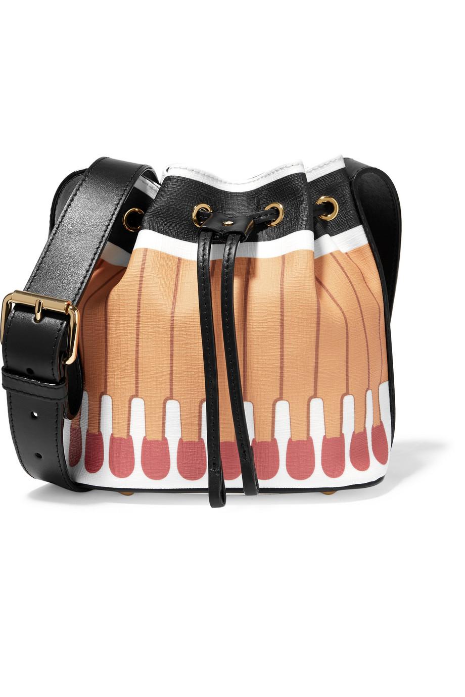 Moschino Printed Textured-PVC Bucket Bag, Beige, Women's