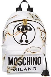 Faux leather-trimmed printed canvas backpack