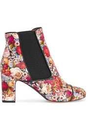 Micki floral-print nubuck ankle boots