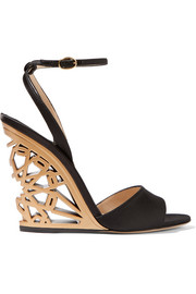 Paul Andrew Kismet cutout satin wedge sandals