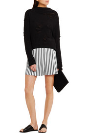 Wrap-effect striped twill shorts