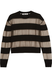 McQ Alexander McQueen Tulle and wool-blend top