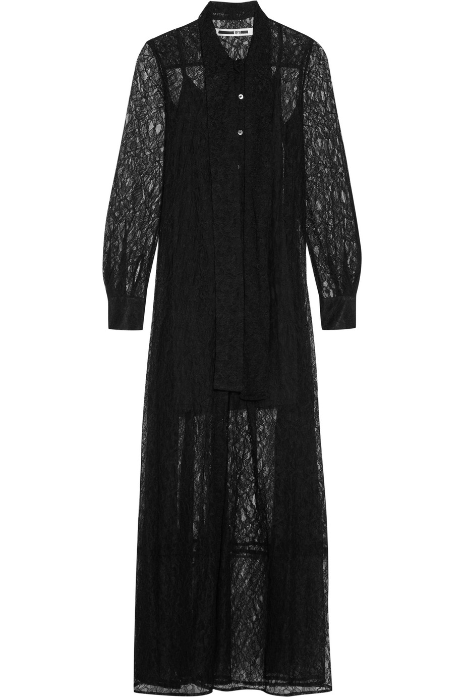 Pussy-Bow Lace Maxi Dress, Mcq Alexander Mcqueen, Black, Women's, Size: 38
