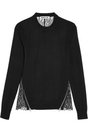 McQ Alexander McQueen Wool and lace top