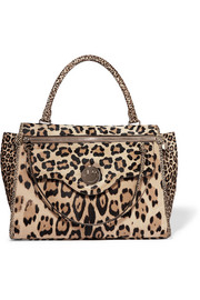 Happy Zippy leopard-print calf hair tote