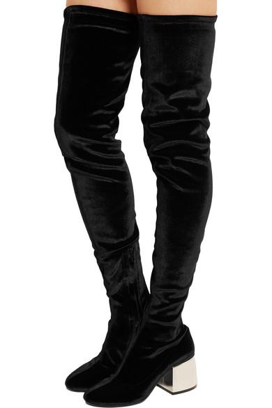 2b21dd746b0 MM6 Maison Margiela. Stretch-velvet over-the-knee boots