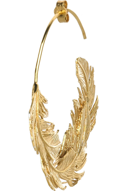 Alex Monroe Feather hoop earrings