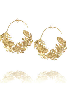 Alex Monroe Feather hoop earrings NET A PORTER COM from netaporter.com