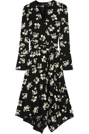 Proenza Schouler Wrap-effect printed crepe midi dress