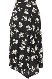 Layered printed crepe midi skirt