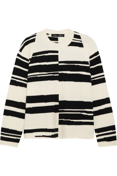 Proenza Schouler - Striped Stretch Wool-blend Sweater - White
