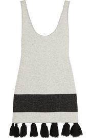 Tasseled stretch-bouclé tunic