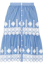 Carolina crochet-trimmed striped cotton skirt