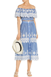 Miguelina Carolina crochet-trimmed striped cotton skirt