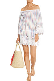 Miguelina Gabriela off-the-shoulder crochet-trimmed striped cotton dress