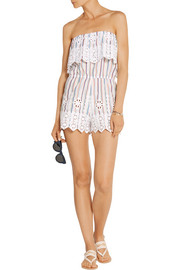 Alejandra crochet-trimmed striped cotton playsuit