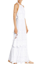 Miguelina Edna halterneck crocheted cotton-lace maxi dress