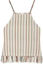 Paloma fringed striped cotton-blend top