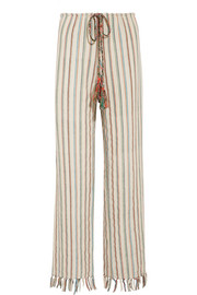 Fifi striped cotton-blend wide-leg pants