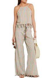 Miguelina Fifi striped cotton-blend wide-leg pants