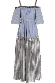 Amara embroidered striped cotton maxi dress