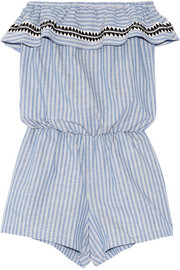 Amara embroidered striped cotton-blend playsuit