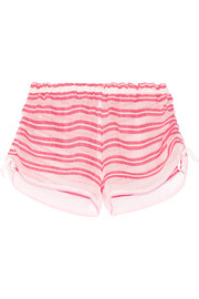 LemLem Selina striped cotton-blend gauze shorts
