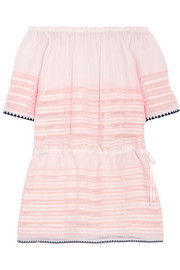 LemLem Nadia off-the-shoulder striped cotton-blend gauze mini dress