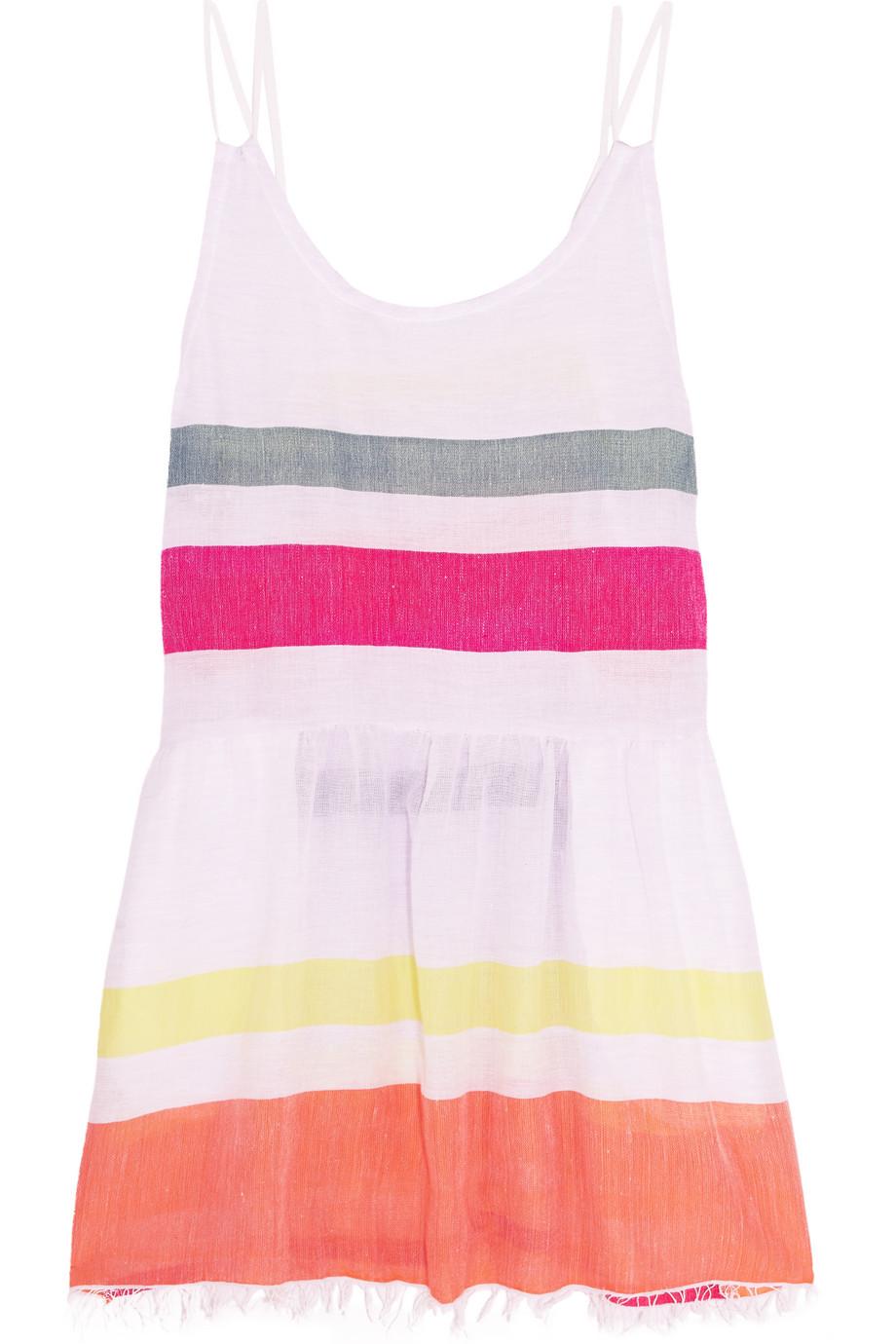 Lemlem Hali Striped Cotton-Blend Gauze Mini Dress, Lilac, Women's - Striped