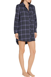 Molly plaid stretch cotton-gauze nightshirt