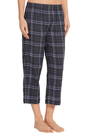 Donna plaid stretch cotton-gauze pajama pants